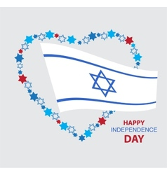 heart made of david stars with Israel flag vector image vector image