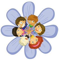 Kids on a flower vector image