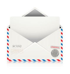 Mail air envelope with postal stamp vector