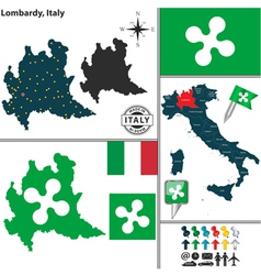 Map of Lombardy vector image vector image