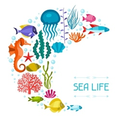 Marine life background design with sea animals vector