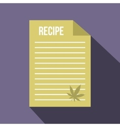 Medical recipe with hemp leaf icon flat style vector