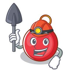 Miner christmas ball character cartoon vector
