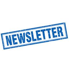 Newsletter blue square grunge stamp on white vector
