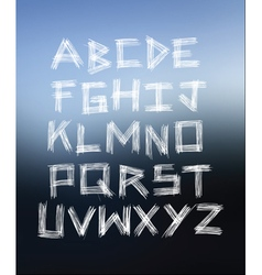 Scratched glass hand written alphabet vector