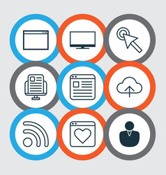 Set of 9 online connection icons includes display vector