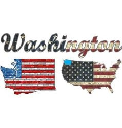 USA state of Washington on a brick wall vector image vector image