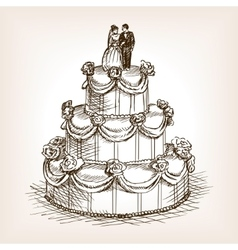 Wedding cake hand drawn sketch style vector image vector image