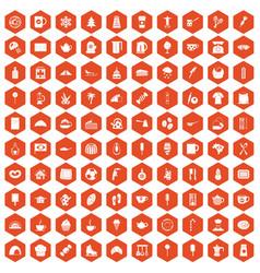 100 coffee icons hexagon orange vector