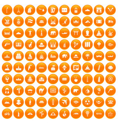 100 world tour icons set orange vector