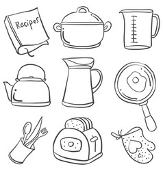 doodle of kitchen set hand draw vector image