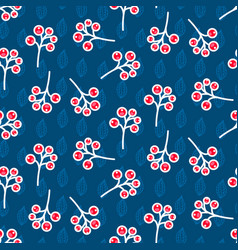 Rowan berry seamless pattern on blue vector