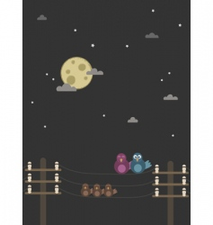 Night birds vector