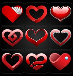 3D heart icons set vector image