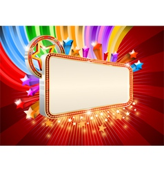 Glossy marquee with colorful stars background vector