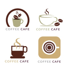 Set of icon on coffee element vector
