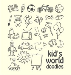 Kids World Doodles vector image