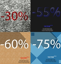 55 60 75 icon set of percent discount on abstract vector