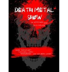 Death metal show poster with skull vector