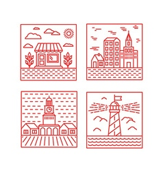 Set of city in trendy linear style vector