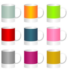 Colorful mugs vector