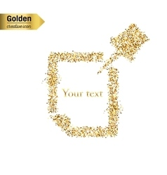 Gold glitter icon of push pin isolated on vector