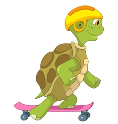 Funny turtle skateboarding vector