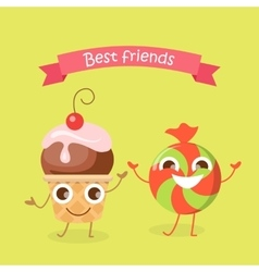 Best friends caramel candy and cupcake characters vector