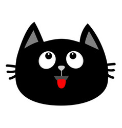 Black cat head face icon looking up red tongue vector