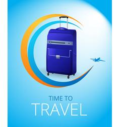 blue travel bag vector image vector image