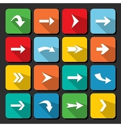 Colorful arrow icon collection on square web vector