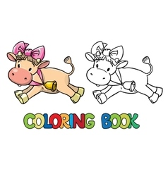 Coloring book of little funny cow or calf vector image
