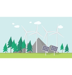 Flat eco design rural landscape with windmill vector