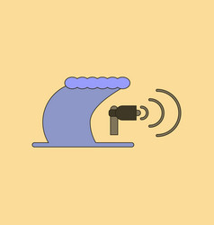 Flat icon stylish background tsunami loudspeaker vector