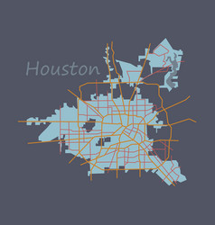 Flat map houston city texas roads vector