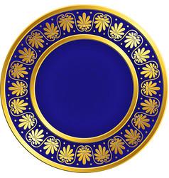 golden round frame with greek meander pattern vector image vector image