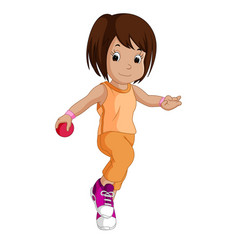 little girl with a pink ball vector image