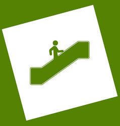 Man on moving staircase going up white vector