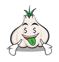 Money mouth garlic cartoon character vector