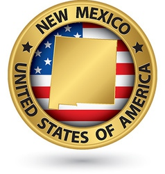 New Mexico state gold label with state map vector image vector image