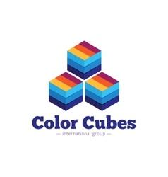 Paper style multicolor cubes logo flat vector
