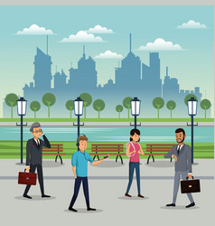 People walking park urban background vector