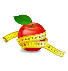 Red apple with measuring tape vector image