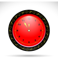 red clock with yellow curly ornament vector image vector image