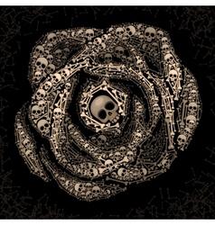 Rose of skulls and bones vector