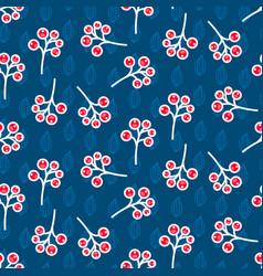 Rowan berry seamless pattern on blue vector