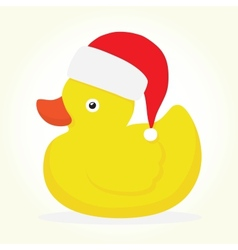 Rubber duck merry christmas vector
