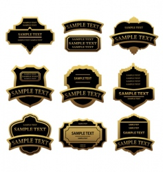 set of golden labels and frames vector image