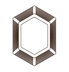 shield in shape of diamond in brown silhouette vector image
