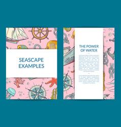 sketched sea elements card or brochure vector image
